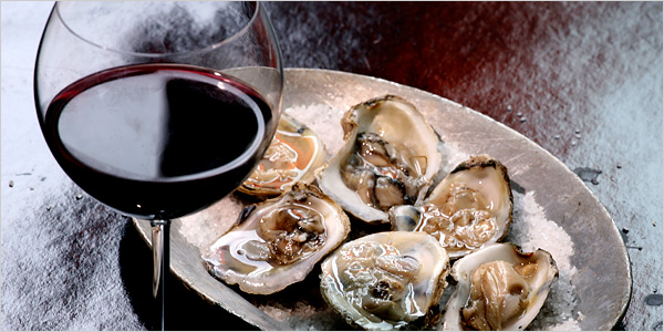 red wine with oysters